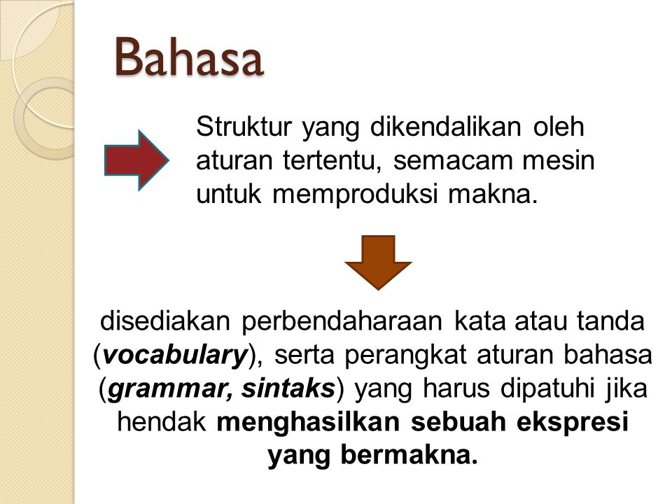 Bahasa Struktur yang dikendalikan oleh aturan tertentu, semacam mesin untuk memproduksi makna.