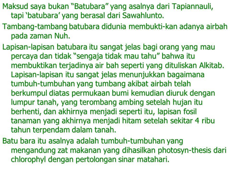 Maksud saya bukan Batubara yang asalnya dari Tapiannauli, tapi 'batubara' yang berasal dari Sawahlunto.