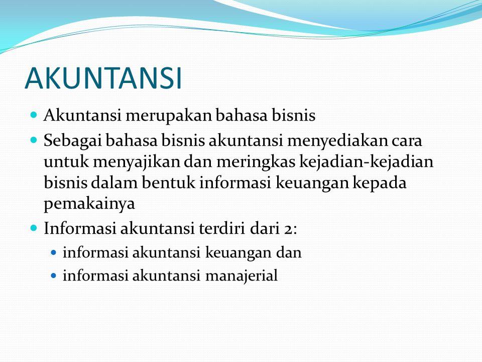 AKUNTANSI Akuntansi merupakan bahasa bisnis
