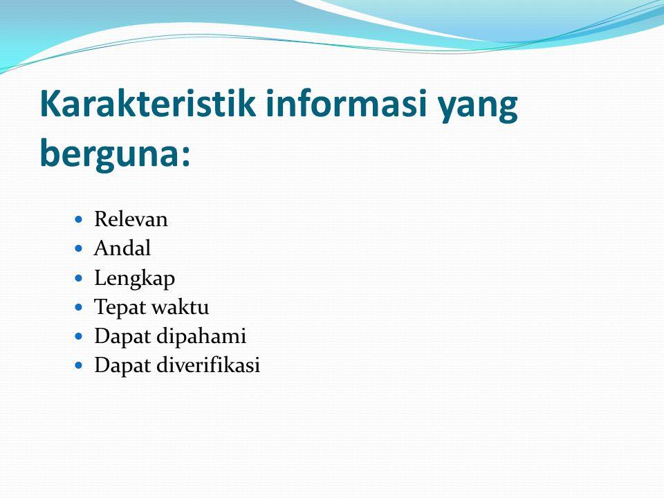 Karakteristik informasi yang berguna: