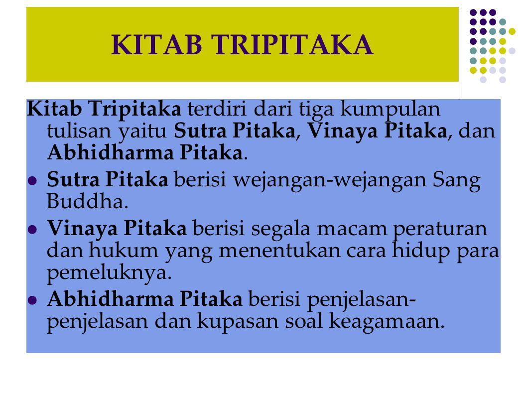 KITAB TRIPITAKA Kitab Tripitaka terdiri dari tiga kumpulan tulisan yaitu Sutra Pitaka, Vinaya Pitaka, dan Abhidharma Pitaka.