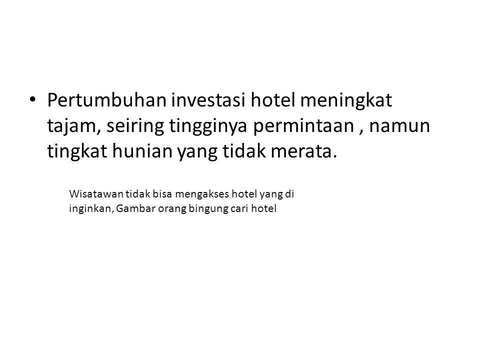 Pertumbuhan investasi hotel meningkat tajam, seiring tingginya permintaan , namun tingkat hunian yang tidak merata.