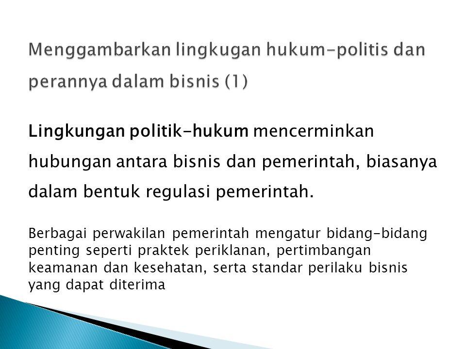 Menggambarkan lingkugan hukum-politis dan perannya dalam bisnis (1)