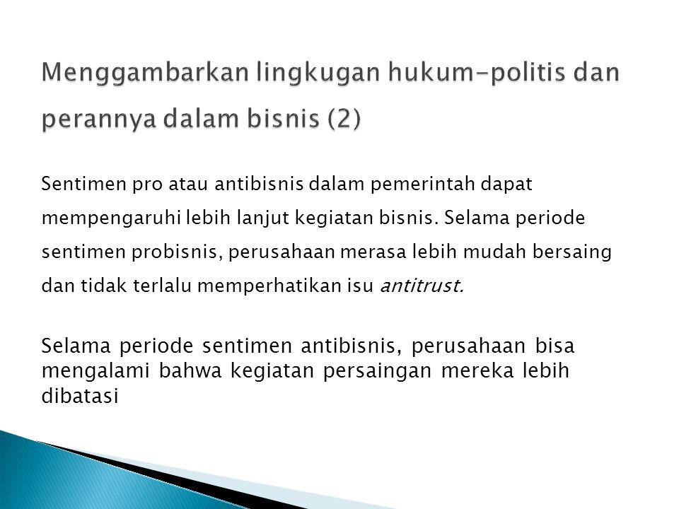 Menggambarkan lingkugan hukum-politis dan perannya dalam bisnis (2)