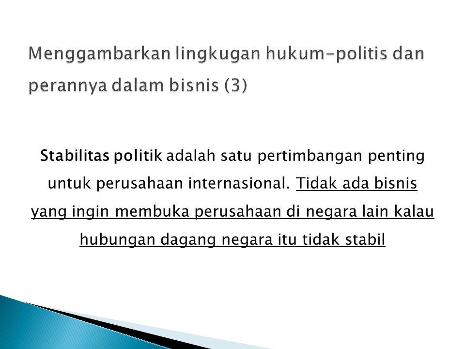 Menggambarkan lingkugan hukum-politis dan perannya dalam bisnis (3)