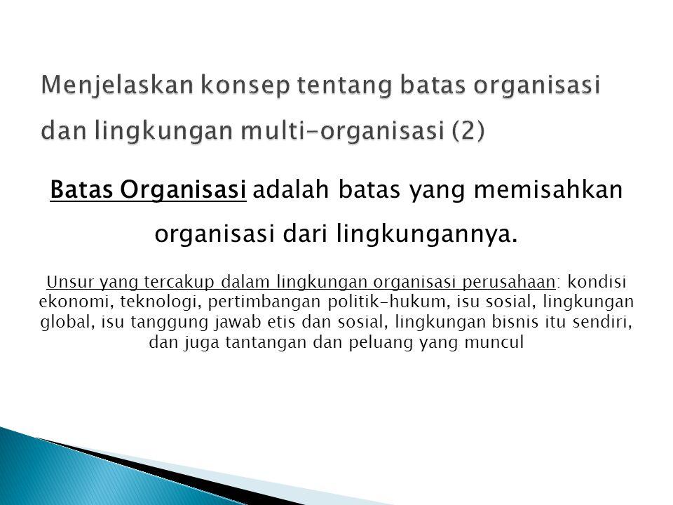 Menjelaskan konsep tentang batas organisasi dan lingkungan multi-organisasi (2)