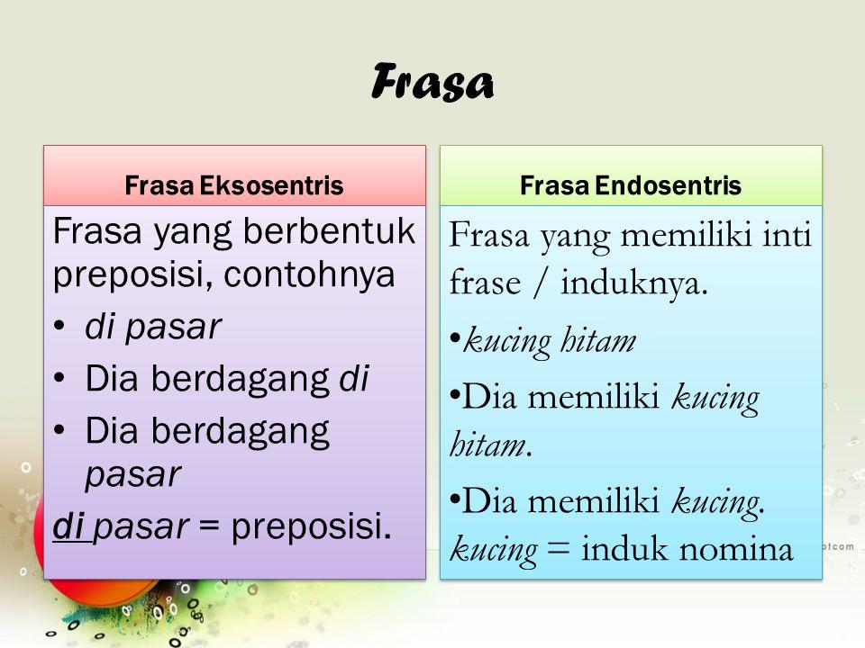 Frasa Frasa yang berbentuk preposisi, contohnya di pasar