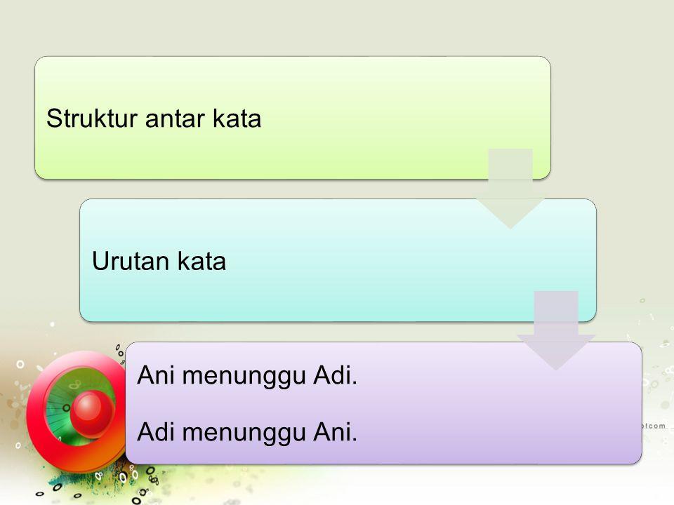 Struktur antar kata Urutan kata Ani menunggu Adi. Adi menunggu Ani.