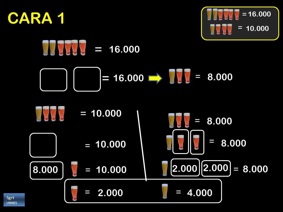 CARA 1 = 16.000. 10.000. = 16.000. = = 16.000. 8.000. = 10.000. = 8.000. = = 10.000.