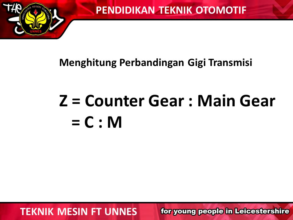Z = Counter Gear : Main Gear = C : M
