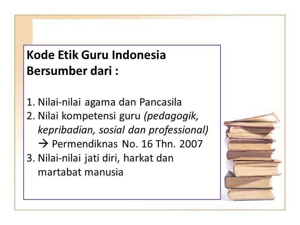 Kode Etik Guru Indonesia Bersumber dari :