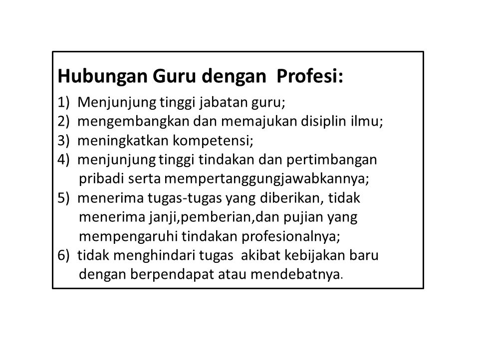 Hubungan Guru dengan Profesi: