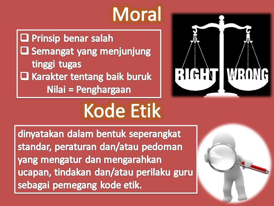 Moral Kode Etik Prinsip benar salah Semangat yang menjunjung
