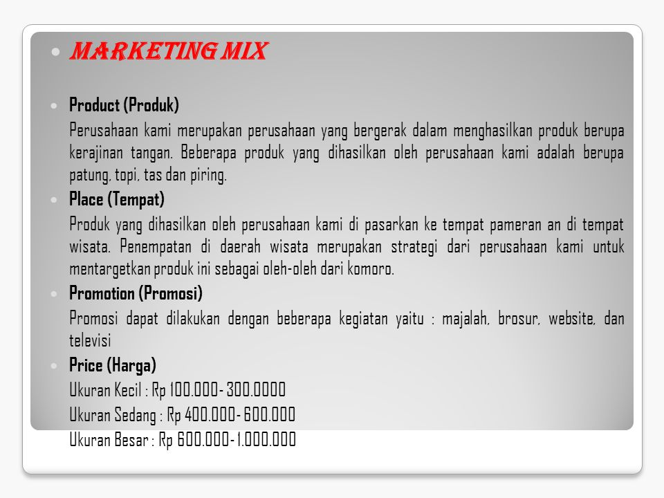 Marketing Mix Product (Produk)