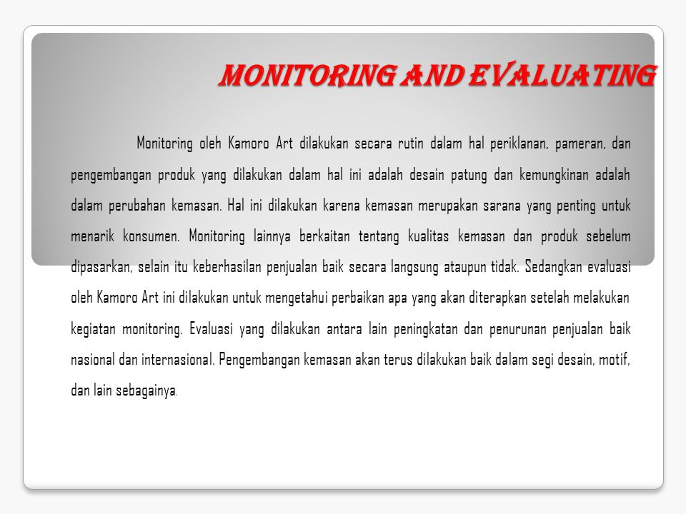 Monitoring and Evaluating