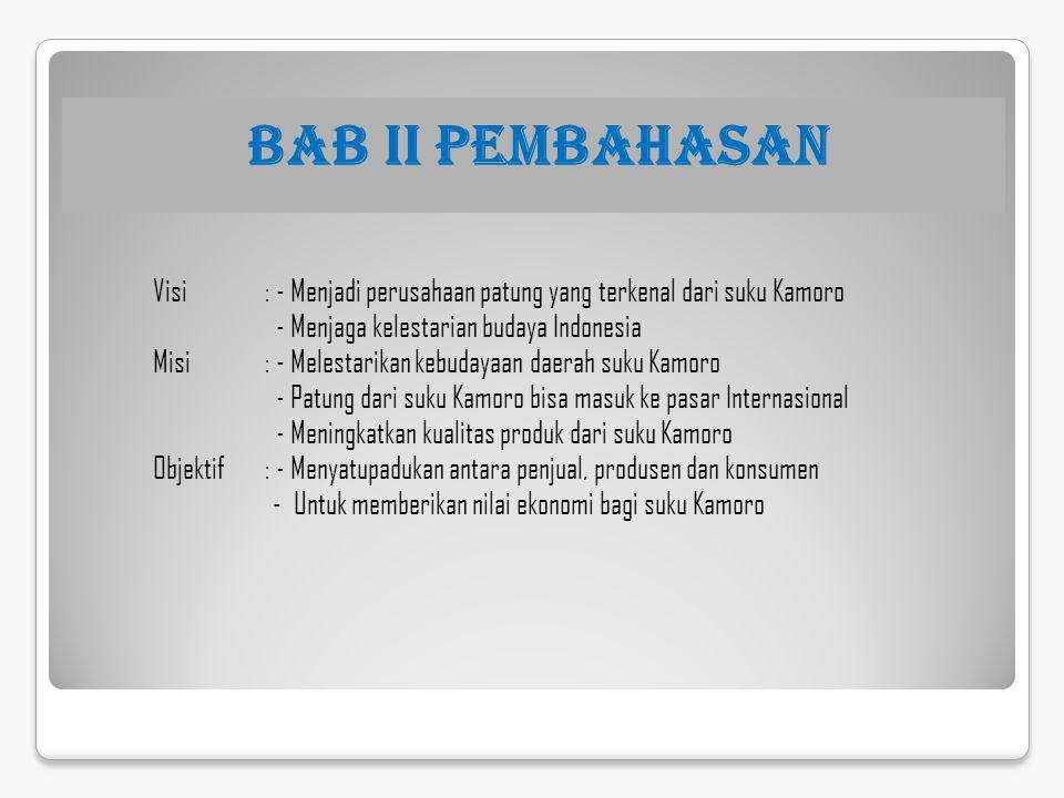 BAB II PEMBAHASAN Visi : - Menjadi perusahaan patung yang terkenal dari suku Kamoro. - Menjaga kelestarian budaya Indonesia.