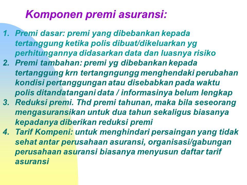 Komponen premi asuransi: