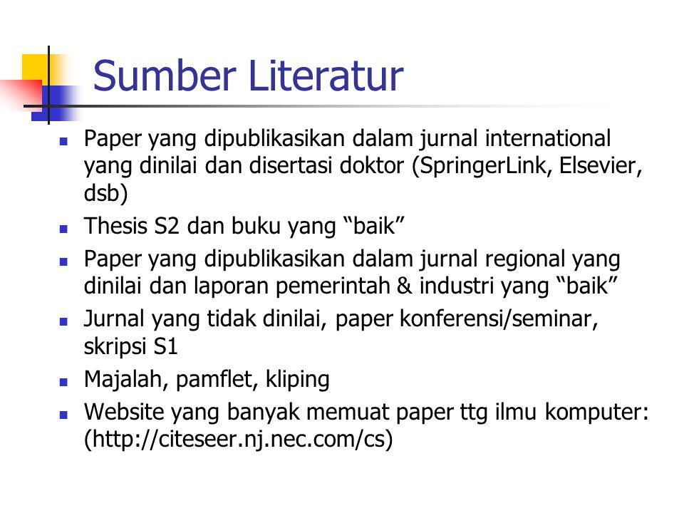 Sumber Literatur Paper yang dipublikasikan dalam jurnal international yang dinilai dan disertasi doktor (SpringerLink, Elsevier, dsb)