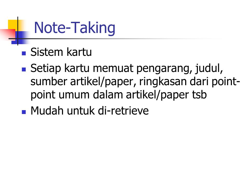 Note-Taking Sistem kartu