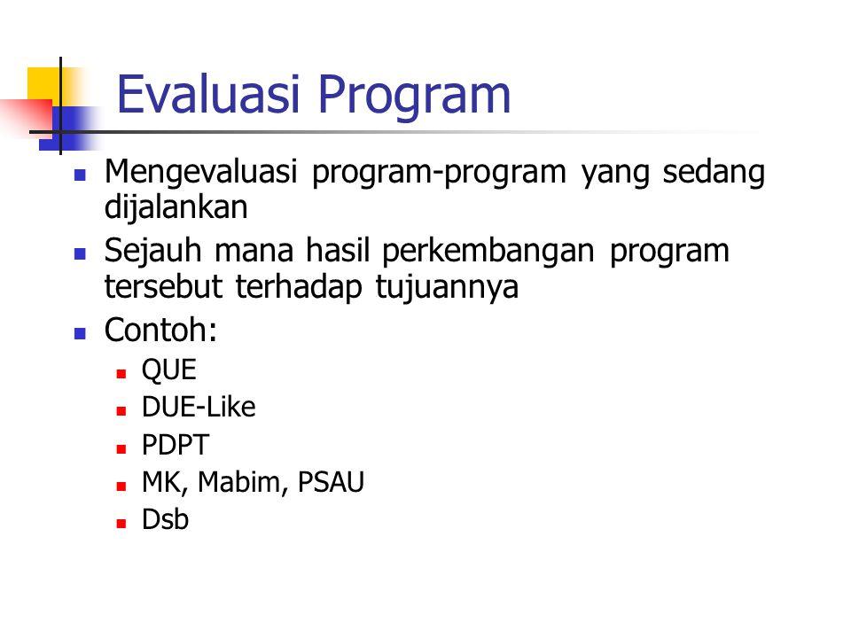 Evaluasi Program Mengevaluasi program-program yang sedang dijalankan