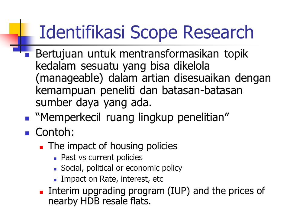 Identifikasi Scope Research