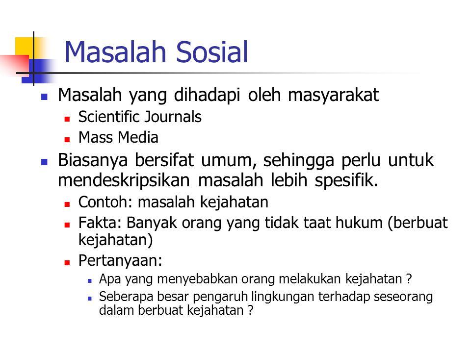 Masalah Sosial Masalah yang dihadapi oleh masyarakat