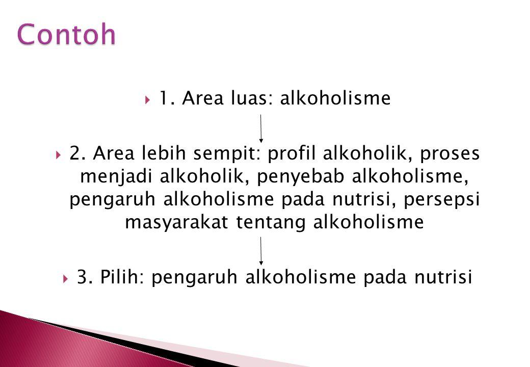 Contoh 1. Area luas: alkoholisme