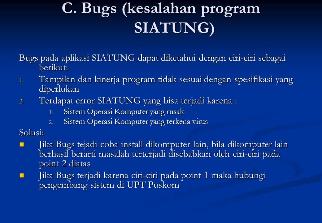 C. Bugs (kesalahan program SIATUNG)