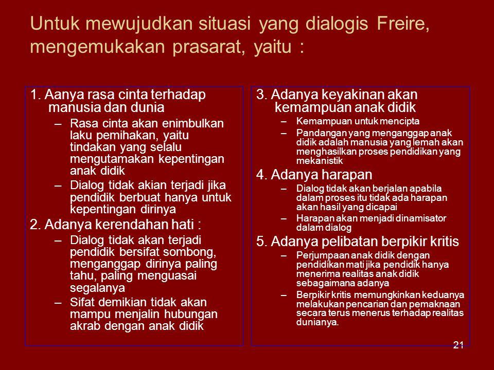 Untuk mewujudkan situasi yang dialogis Freire, mengemukakan prasarat, yaitu :