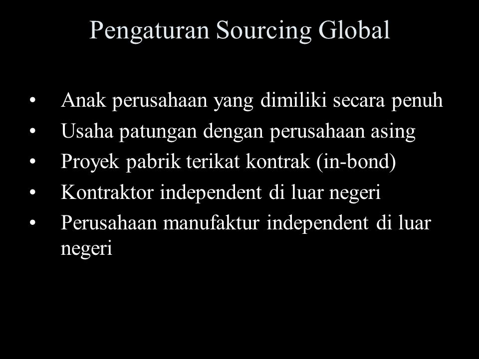 Pengaturan Sourcing Global