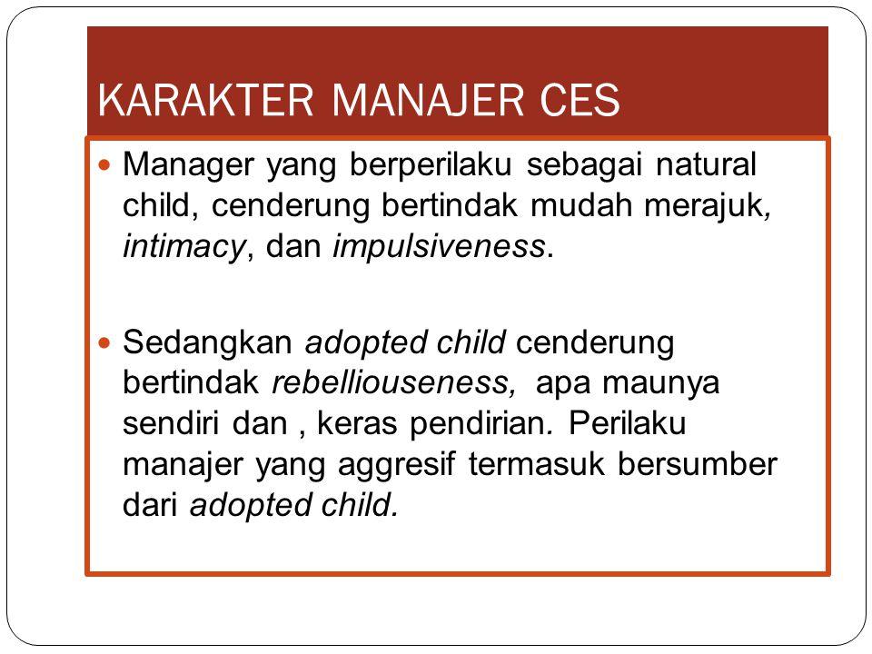 KARAKTER MANAJER CES Manager yang berperilaku sebagai natural child, cenderung bertindak mudah merajuk, intimacy, dan impulsiveness.