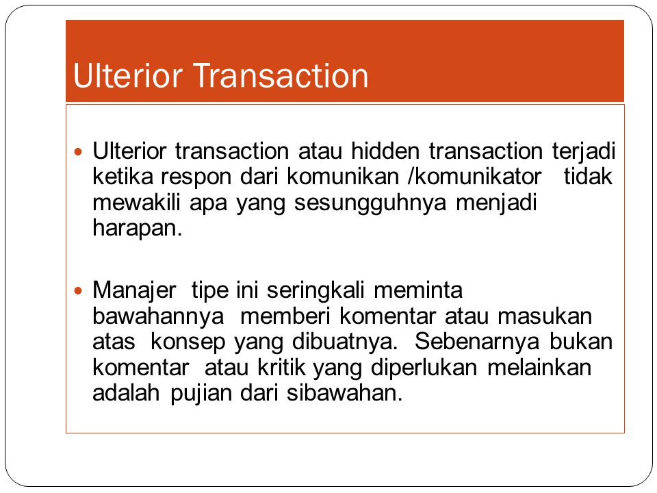 Ulterior Transaction