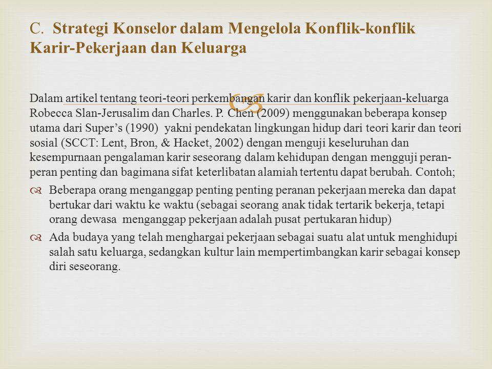 C. Strategi Konselor dalam Mengelola Konflik-konflik Karir-Pekerjaan dan Keluarga