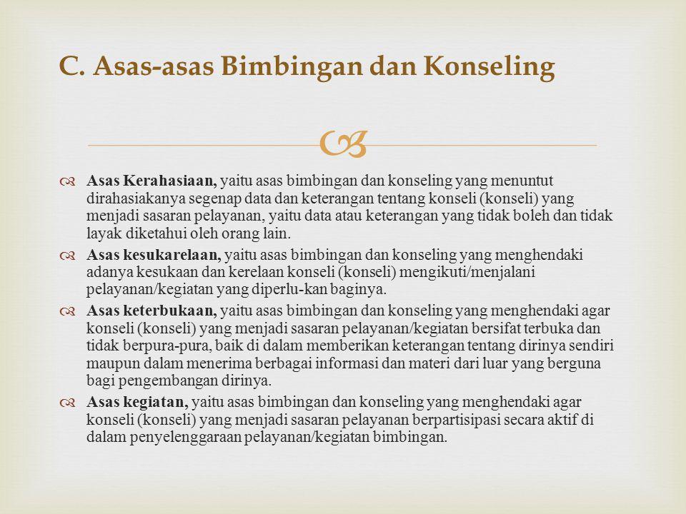 C. Asas-asas Bimbingan dan Konseling