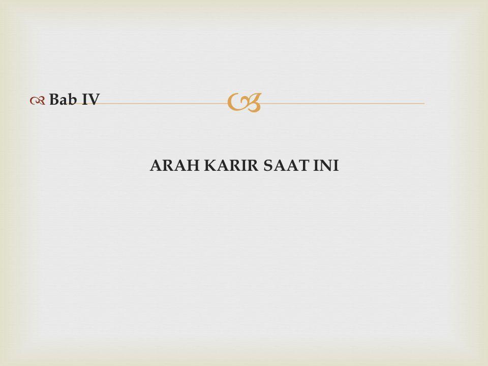 Bab IV ARAH KARIR SAAT INI