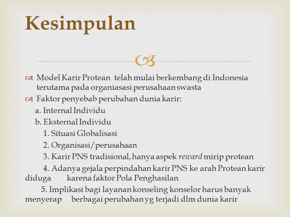 Kesimpulan Model Karir Protean telah mulai berkembang di Indonesia terutama pada organiasasi perusahaan swasta.