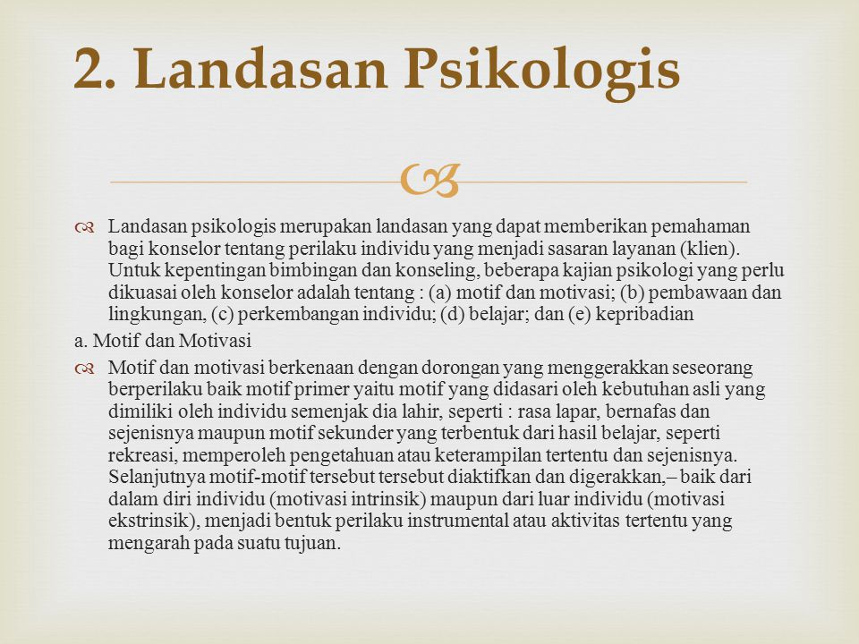 2. Landasan Psikologis