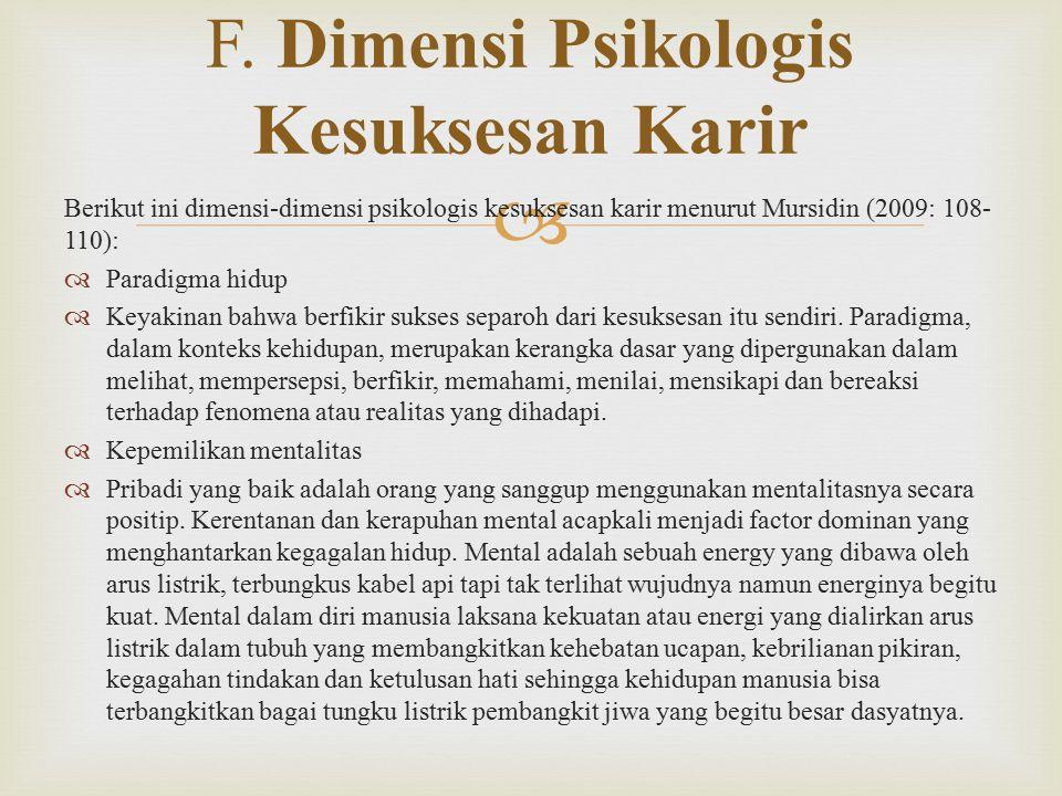 F. Dimensi Psikologis Kesuksesan Karir