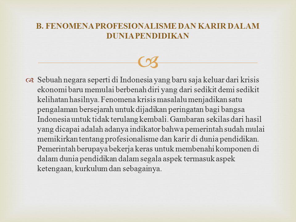 B. FENOMENA PROFESIONALISME DAN KARIR DALAM DUNIA PENDIDIKAN