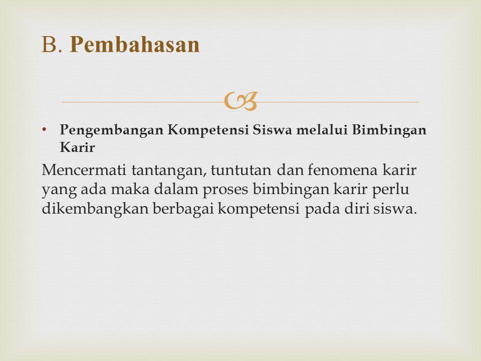 B. Pembahasan Pengembangan Kompetensi Siswa melalui Bimbingan Karir.