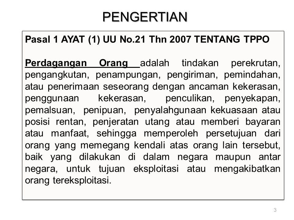 PENGERTIAN Pasal 1 AYAT (1) UU No.21 Thn 2007 TENTANG TPPO