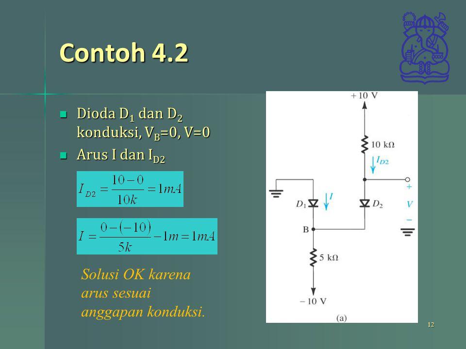 Contoh 4.2 Dioda D1 dan D2 konduksi, VB=0, V=0 Arus I dan ID2