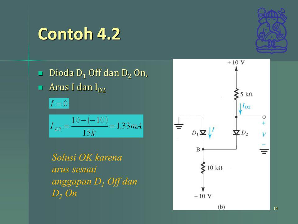Contoh 4.2 Dioda D1 Off dan D2 On, Arus I dan ID2