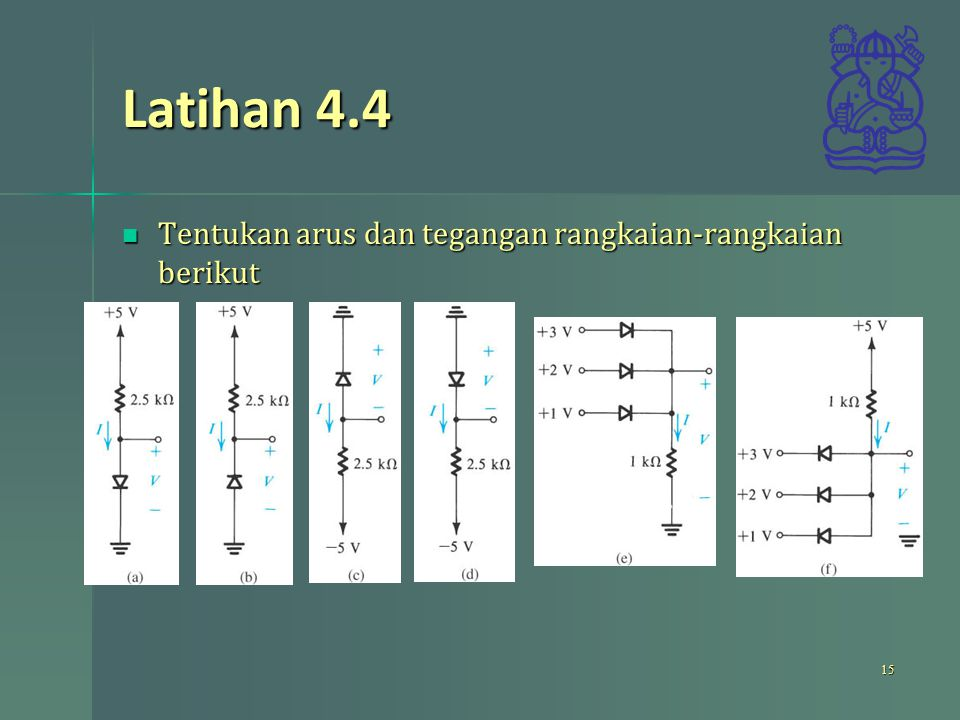 Latihan 4.4 Tentukan arus dan tegangan rangkaian-rangkaian berikut