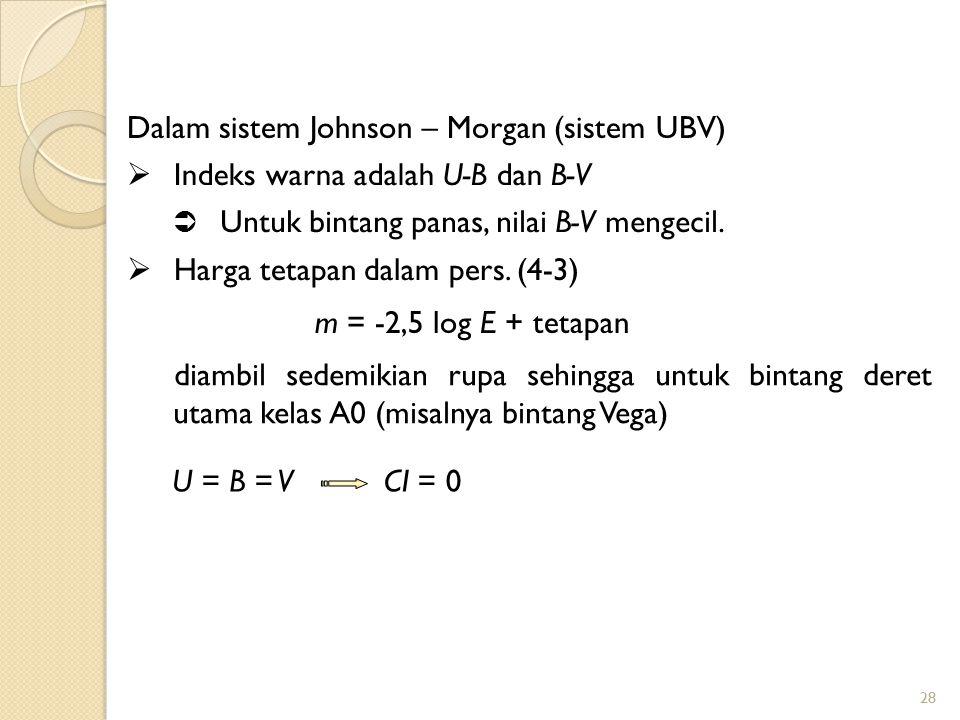 Dalam sistem Johnson – Morgan (sistem UBV)