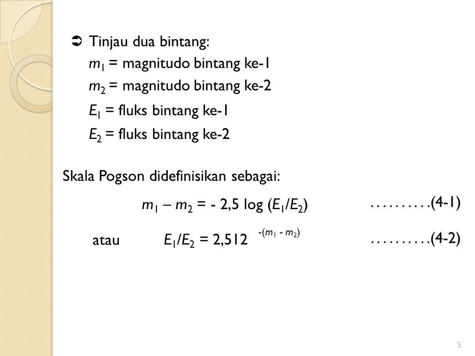 m1 = magnitudo bintang ke-1 m2 = magnitudo bintang ke-2