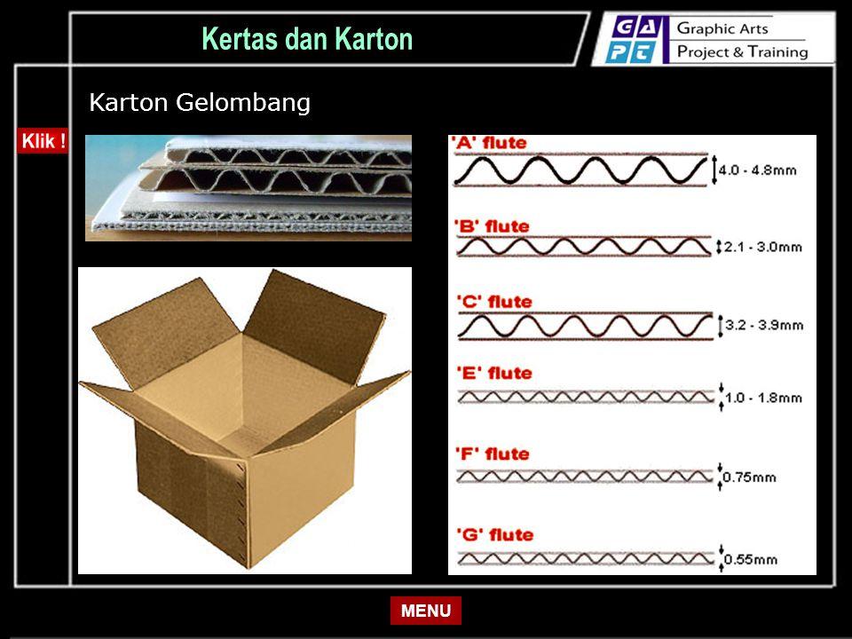 Kertas dan Karton Karton Gelombang MENU