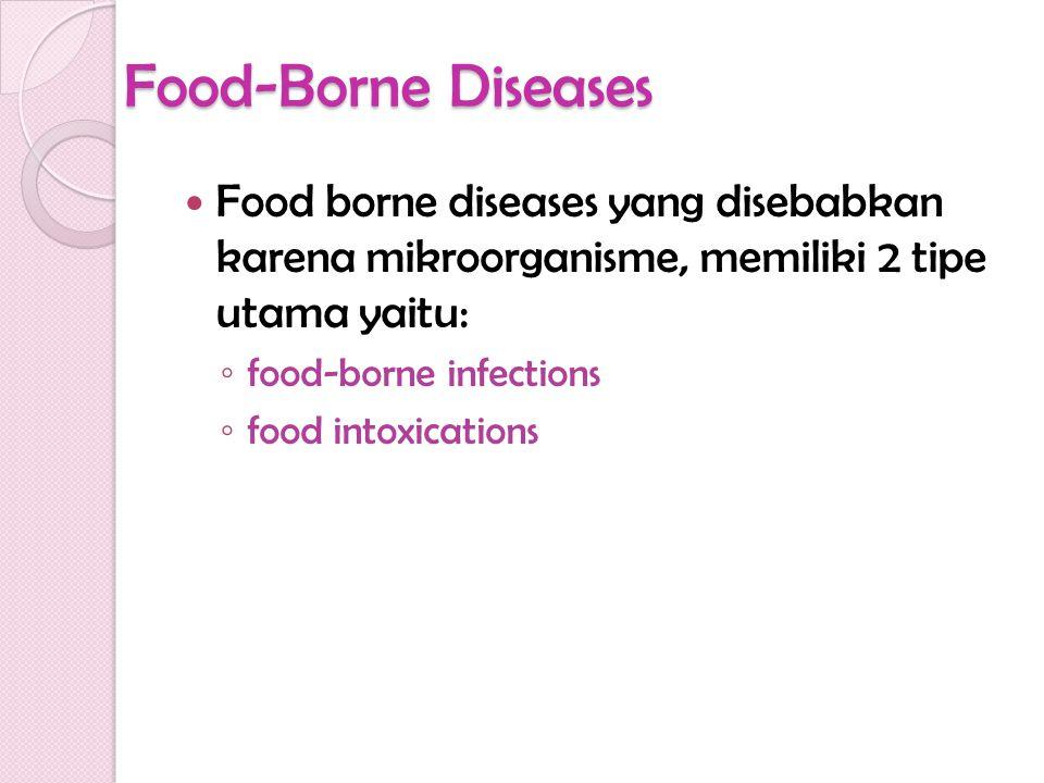 Food-Borne Diseases Food borne diseases yang disebabkan karena mikroorganisme, memiliki 2 tipe utama yaitu: