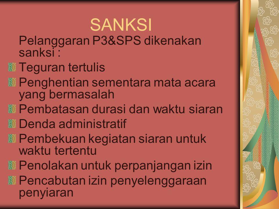 SANKSI Pelanggaran P3&SPS dikenakan sanksi : Teguran tertulis