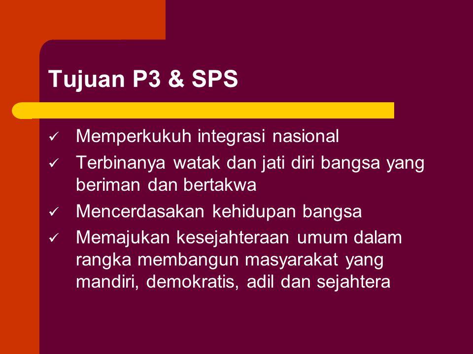 Tujuan P3 & SPS Memperkukuh integrasi nasional